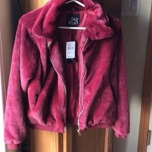 New with tags burgundy bomber jacket